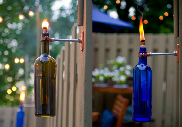 making a torch from an old wine bottle