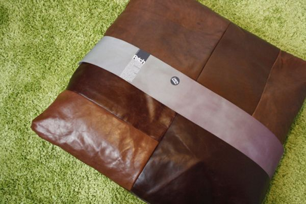 patch pillows made from reclaimed leather scraps 1
