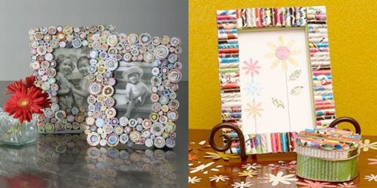 Picture frame from recycled paper