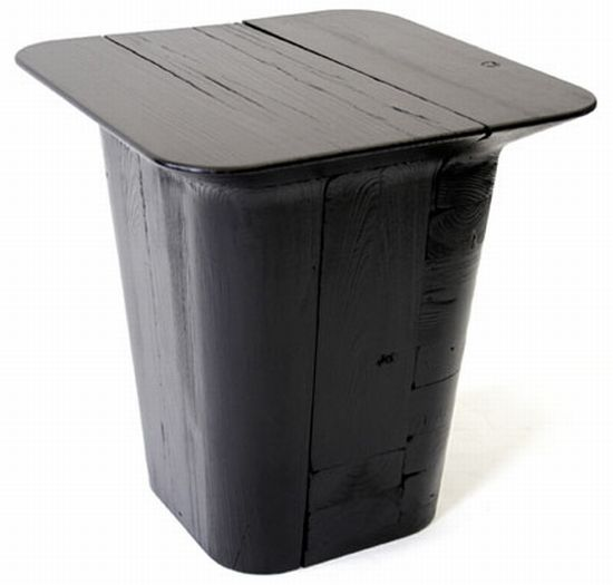 pitch black stool and table 3