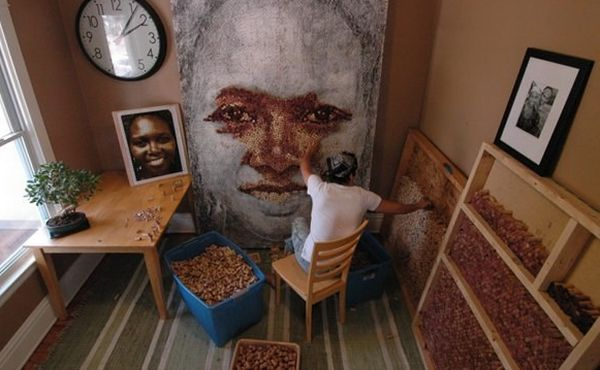 Portraits Made from Cork