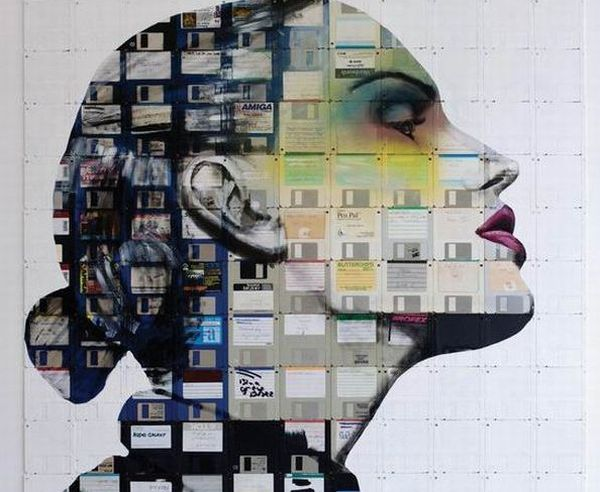 Portraits made from floppy disks