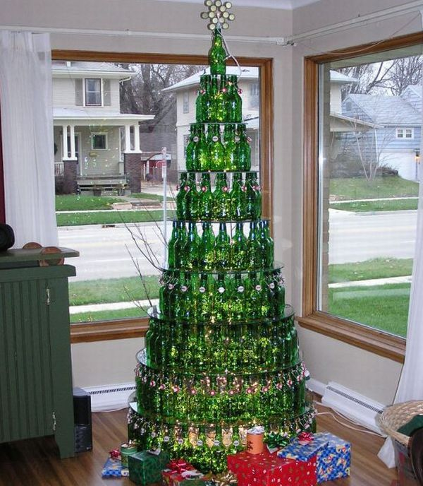 Recycled Beer Bottle Christmas Tree
