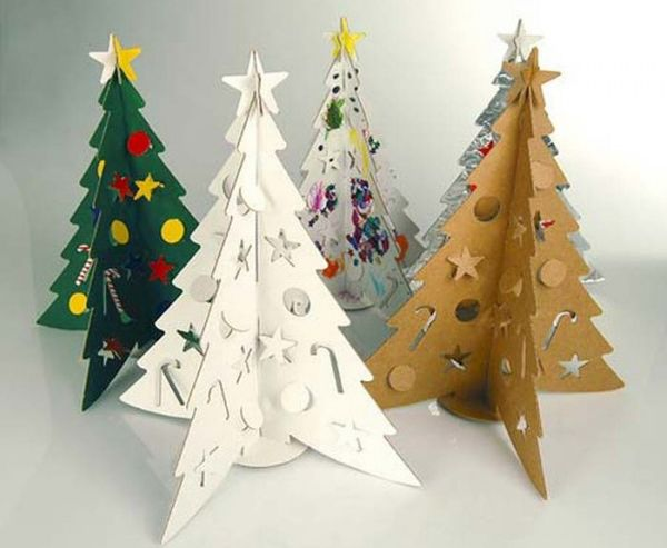christmas trees made using recycled materials