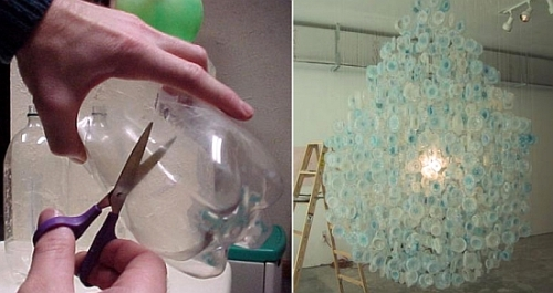 Recycled Plastic Chandelier by Stuart Haygarth