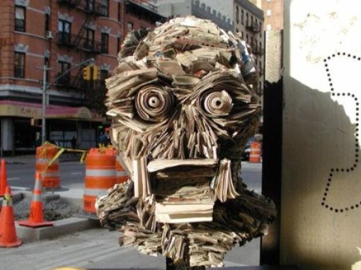 Screaming Newspaper Sculpture