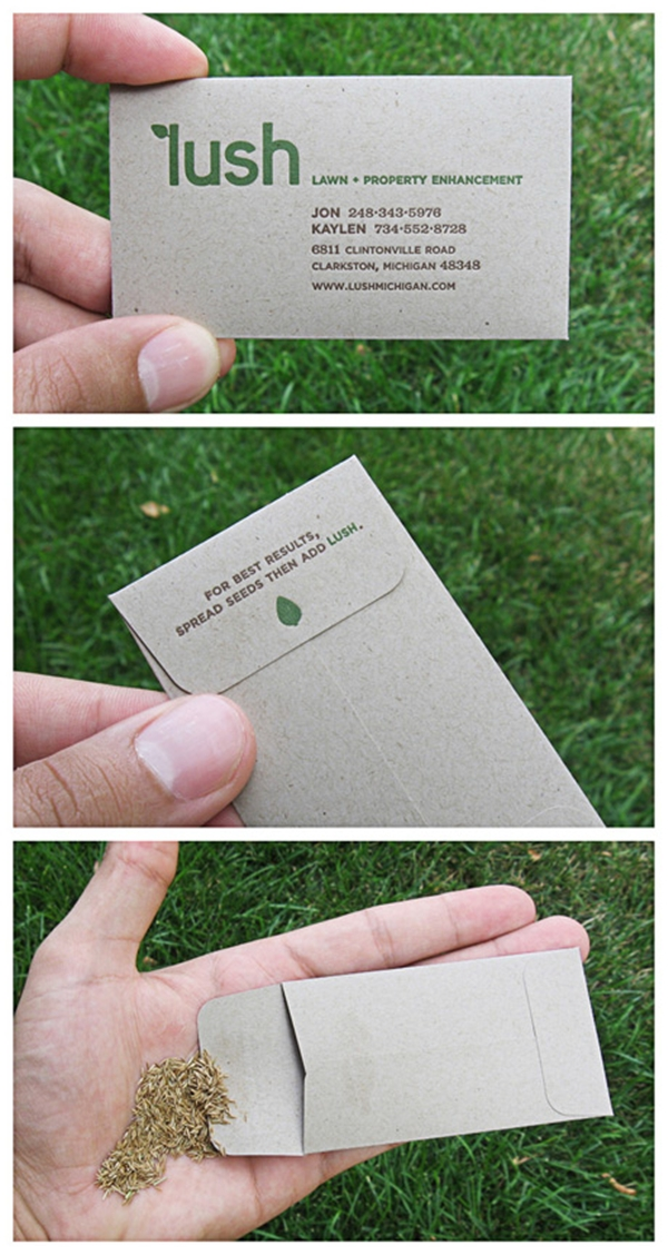 15 eco friendly business cards made from recycled paper green seed business card reheart Gallery