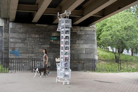 shopping cart sculptures 3