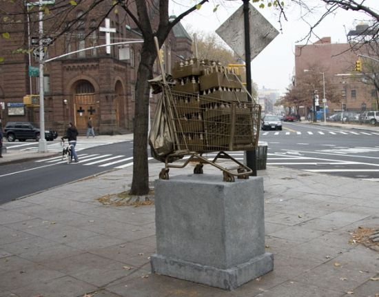 shopping cart sculptures 4