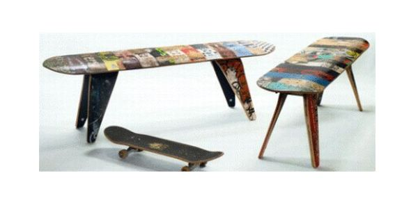 Skateboard deck stool