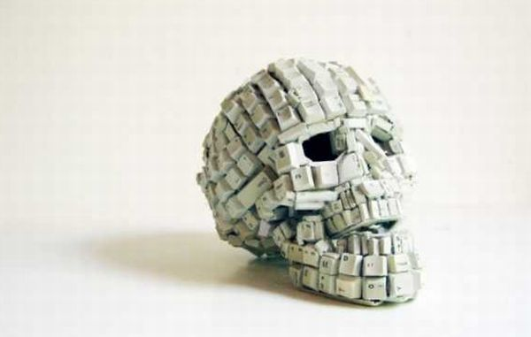Skull made from computer keyboard