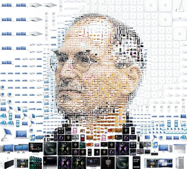 Steve Jobs Portrait Made From Apple Products
