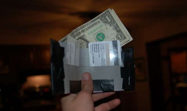 Wallet made from old floppy disk cables