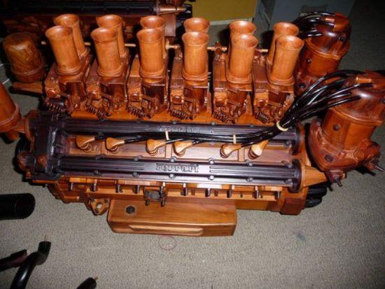 wooden ferrari v12 engine replica 1