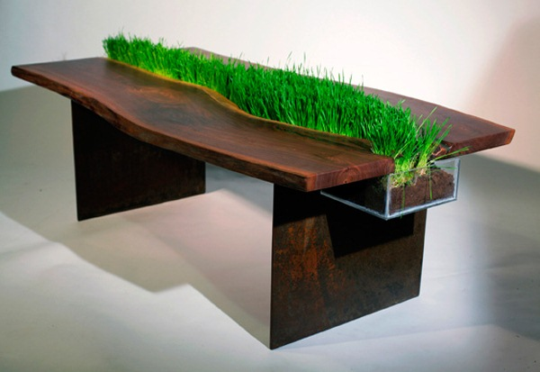 Wooden table with planter