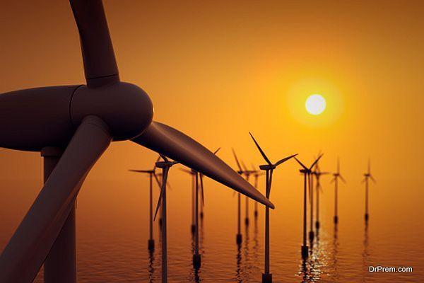 Close up of floating wind farm turbine.