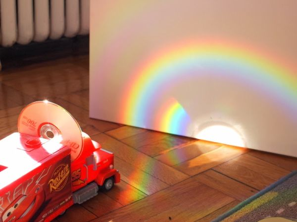 7 Make rainbows Using a CD (toy setup)