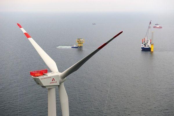 Die erste Offshore Windkraftanlage Deutschlands.