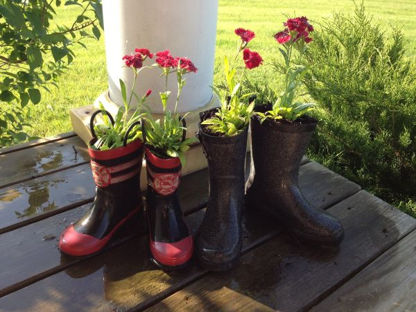 old footwear planter