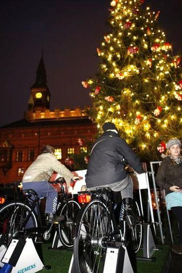 Pedal powered Christmas tree lights