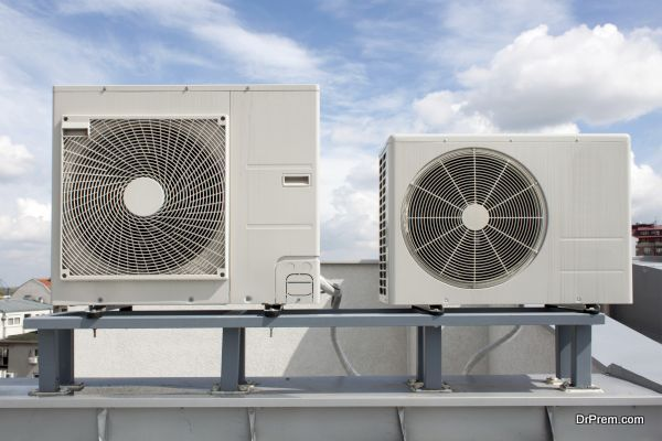 Air conditioning system assembled on top of a building.