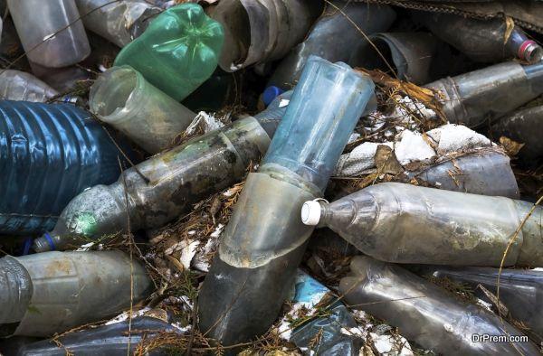 garbage the obsolete plastic bottles