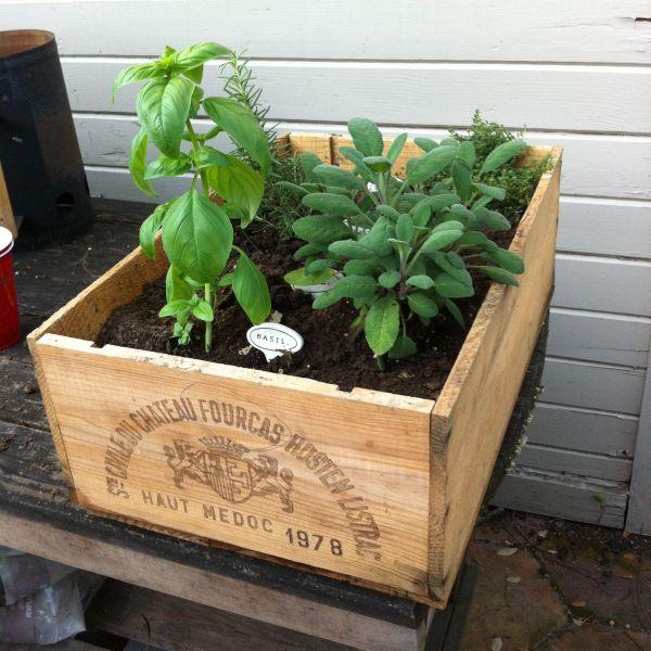 Wine crate planter