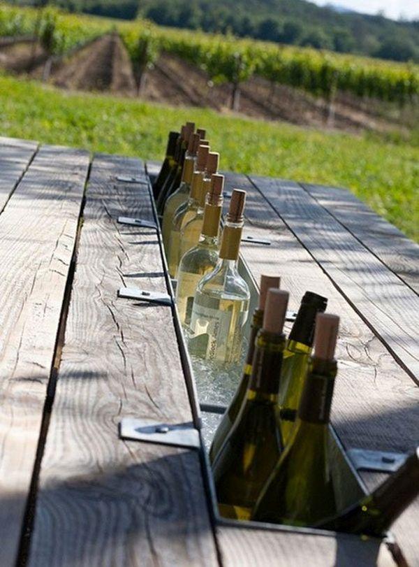 Outdoor table wine cooler