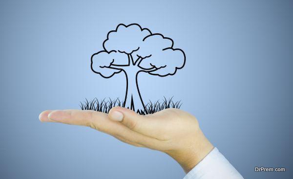 tree on human hand