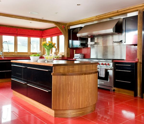 red flooring in kitchen