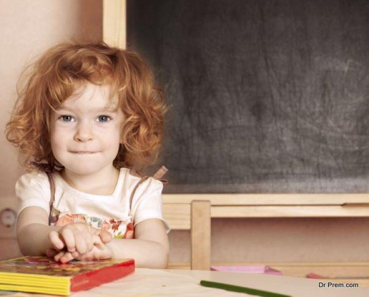 Schoolchild in a class