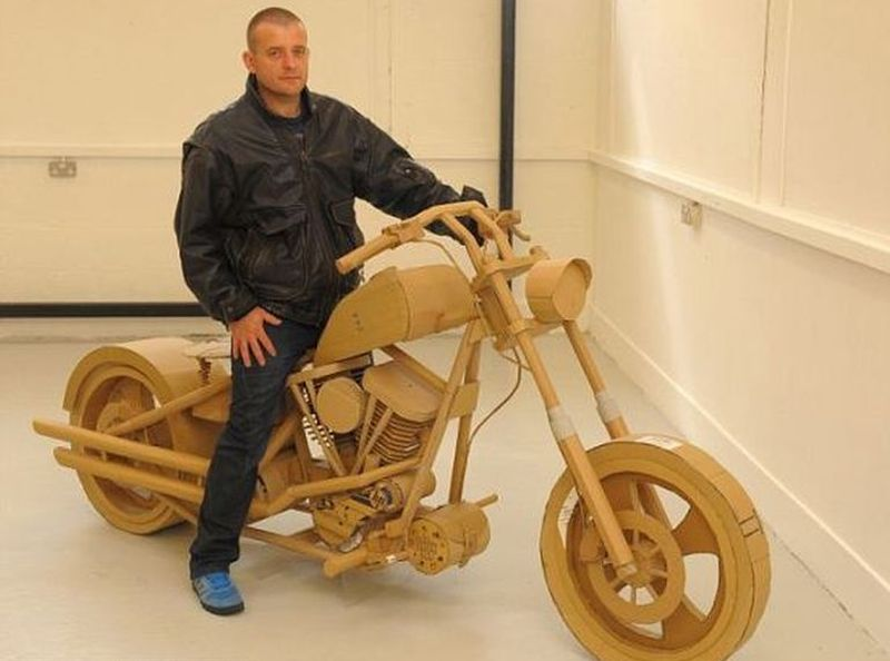 Sustainable Harley Davidson from recycled cardboard