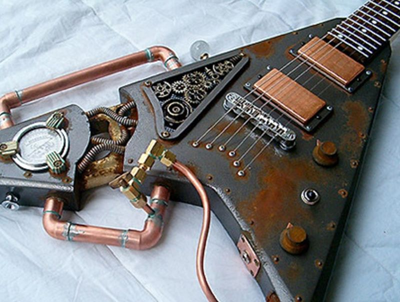 Creative guitars made from recycled materials