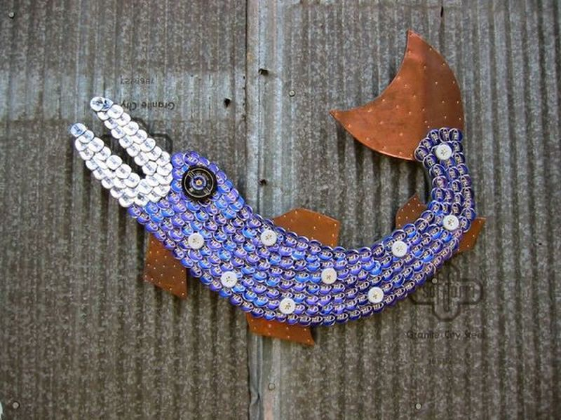 Recycled Bottle Cap Fish Mosaic