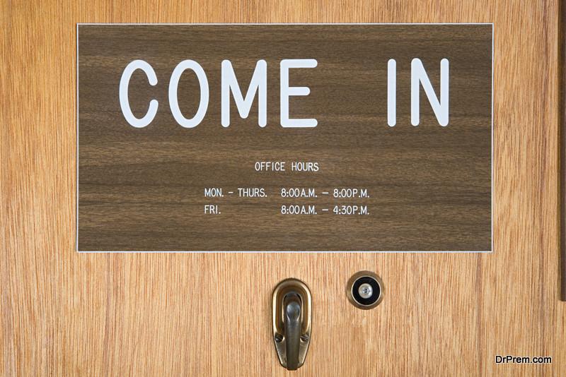 Industrial wood door sign