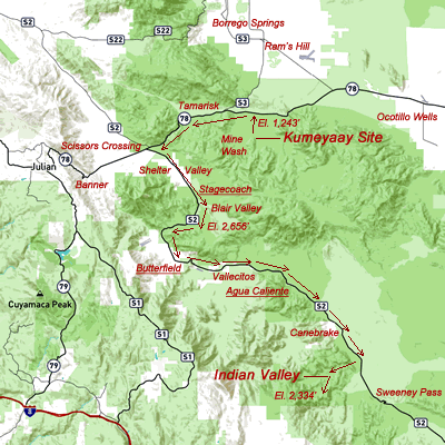 Road map fron Kumeyaay site to Indian Valley