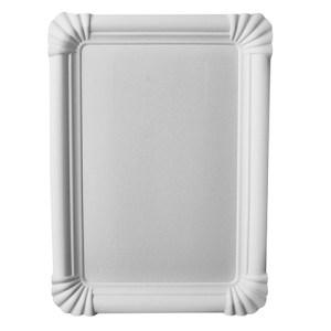 Paper plates 230x160mm white, rectangular (250 pcs.)