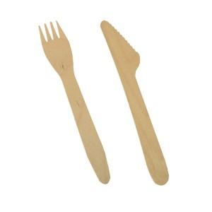 Wooden knife & fork 165mm (500 pcs)