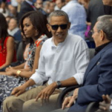 Obama with family at Baseball game in Cuba