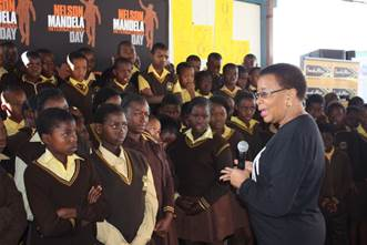 Graca Machel, Nelson Mandela's wife speak with  students