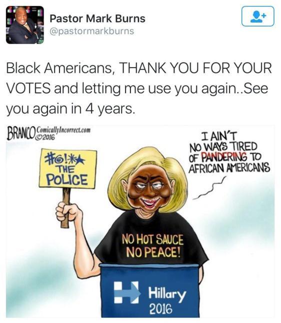 Tweet of Hillary in Blackface
