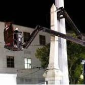 N. O. Monument comes down