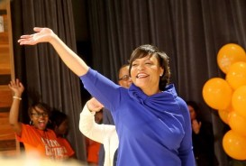 Latoya Cantrell waving to supporters