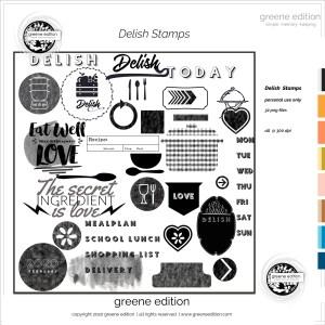 greene edition, delish-stamps