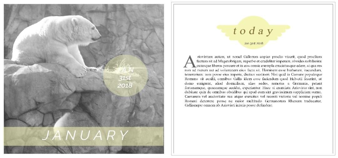 greene edition - 6x6 layout template album - 31 days of January 2018 - photo journal album template -