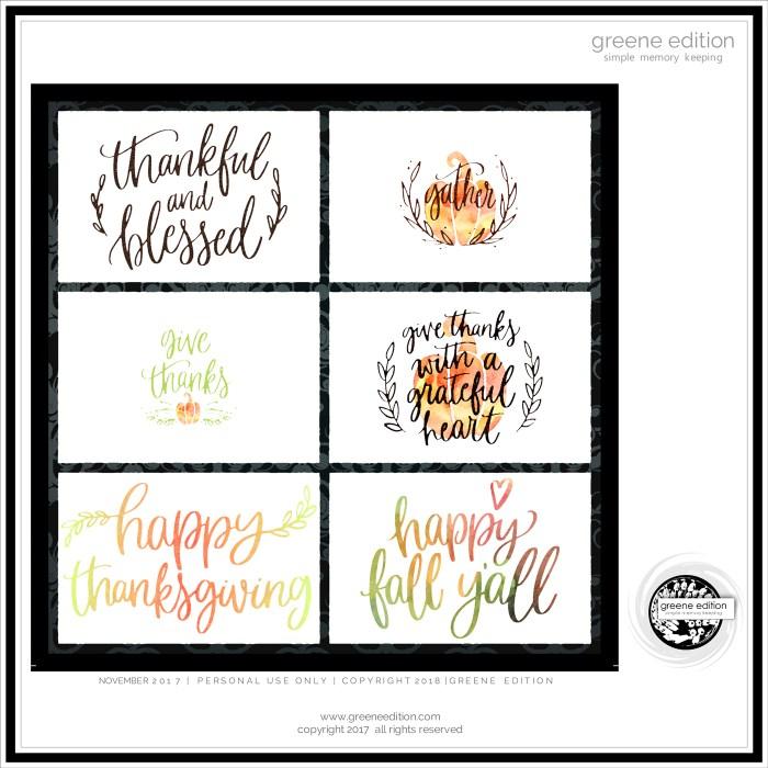 greene edition Thankful journal cards freebie - Greene Edition