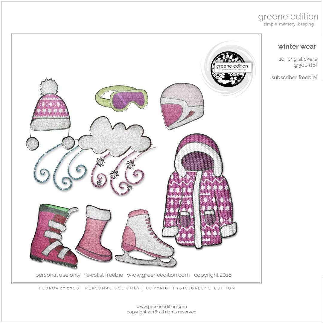 greene edition - simple memory keeping - winter wear- glitter stickers - set
