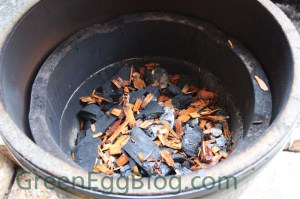 Apple wood chips on the lump coal
