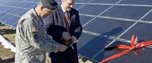 Solar panel ribbon cutting at Fort Carson