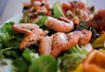 Simple garlic barbecued wild prawns